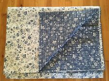 Reversible Jacquard Floral Upholstery Fabric 4.47 YDS - Blue & Off-White Decor