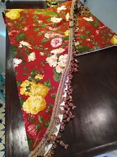 "Two Custom Made Red Floral Swag Drapes Curtains 106"" Wide 60"" Long"