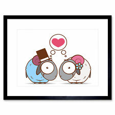 Painting Illustration Cartoon Sheep Marriage Love Bubble Framed Print 12x16 Inch