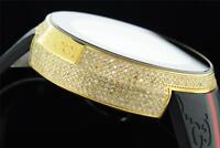 New Mens Custom Yellow Full I-Gucci Digital Ya114207 White Diamond Watch 2.50 CT