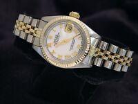 Rolex Datejust Ladies 2Tone 14K Gold Stainless Steel Watch White MOP Roman 6917