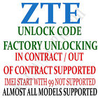 Unlock Code ZTE Grand X Max+ Fanfare Altair 2 Zinger Prelude 2 Cricket Wireless