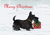 SCOTTISH TERRIER & GIFT SCOTTIE DOG SINGLE DOG PRINT GREETING CHRISTMAS CARD