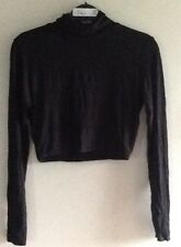 BNIB Ladies Thin Black Roll Neck Cropped Top from Missguided size 8