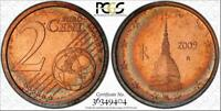 2009-R ITALY 2 EURO CENTS BU PCGS MS66RB RAINBOW TONED FINEST GRADED ONE OF ONE