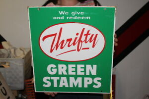 """Vintage c.1960 We Give Thrifty Green Stamps Gas Station 2 Sided 18"""" Metal Sign"""