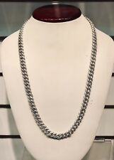 14K White Gold Hand Made Miami Cuban Link Chain 9 mm - 925 - VVS1 - Brand New