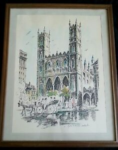 """Original engraving by Lee Ross """"Notre Dame Montreal"""" 15 by 19 inches"""