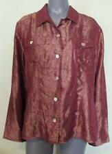 CHICOS Button Down Shirt Top Floral Sheen Currant Maroon Red 3 14/16 NEW NWT