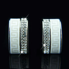18k White Gold Plated Swarovski Crystals Huggie Earrings