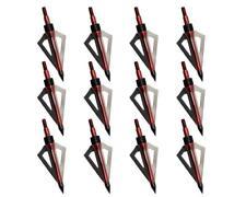 12pcs Hunting Broadheads 100 Grain 3 Blades Broad Arrow Heads Arrows Screw Tips