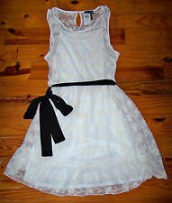 New! Women's Juniors WET SEAL Ivory Floral Lace Victorian Style Dress Medium