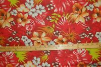 """Beautiful Hawaiian Print Orchids Hibiscus Org Red Ctn Blend Fabric 58""""W BTY"""