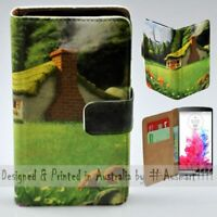 For LG Series Mobile Phone Village House Theme Print Wallet Phone Case Cover