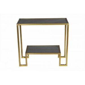 """27"""" W Margret Console Table 2 Tier Solid Marble Surfaces Metallic Iron Frame"""