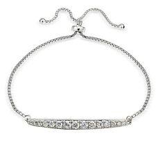 Sterling Silber Zirkonia abgestuft Leiste einstellbar Armband