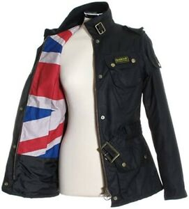 Black Belted Barbour Wax International Heritage  Union Jack Jacket UK 6 Small 8