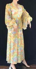 1970's Handmade Long Pastel Floral Lounge Maxi Lounge Dress Robe Bishop Sz S?