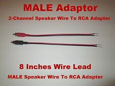 2 - Channel Speaker Wire To RCA Adapter Car Amp Receiver Powered Speakers Male