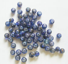100 Crackle Glass Beads -  2 Tone - Dark Blue & Dark Green - 6mm