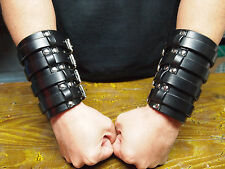 1 Pair Leather CUFFS Black Label style Bracer Wristband
