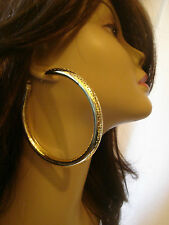 LARGE 3.5 IN HOOP EARRINGS GOLD TONE PIN DOT DESIGN HOLLOW HOOPS