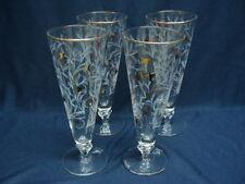 Libbey Rock Sharpe Royal Fern Gold White, 4 Iced Tea, Beer,  Pilsner Glasses