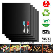 BBQ Grill Mat Set Of 5 Pack Non Stick Pad for Gas Easy Bake Cook Grate Cover