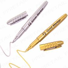 Gold & silver marker pens metallic bullet point
