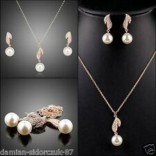 2er Perlen Kristall Damen Set Swarovski Element Kette Ohrschmuck Rose Gold 215