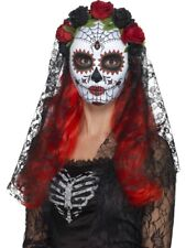 Day Of The Dead Senorita Mask, Full Face Smiffys Fancy Dress Costume