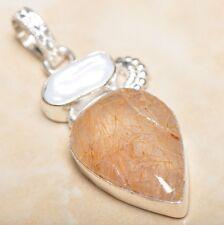 "Handmade Natural Rutilated Quartz Jasper 925 Sterling Silver Pendant 2"" #P07475"