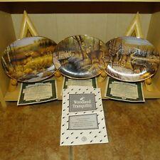 3 Bradford Exchange Plates by Greg Alexander Whitetail Deer Woodland Tranquility