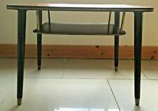 Vintage 1960s Table / TV Stand. Teak with Magazine Shelf, Dansette Legs Original