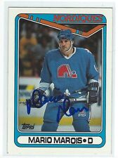 Mario Marois Signed 1990/91 Topps Card #158