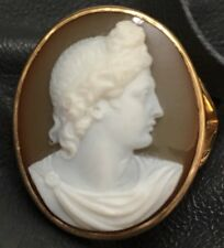 Antique Hardstone Cameo Carnelian 18 Karat Gold Ring Roman Caesar Greek Apollo