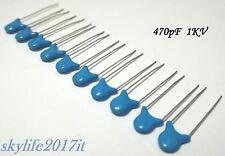 10 pz Condensatori ceramici 470pF 1kV - 10 pezzi condensatore 0,47nF 471 1000V