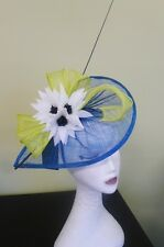 Ladies JENDI Teal White & Lime Formal Spring Racing Oaks Day Fascinator Headband
