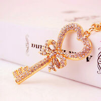 Fashion Women Key Shaped Keychain Crystal Keyring Handbag Charm