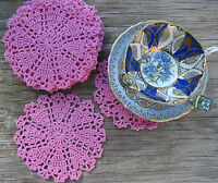 "6 psc 6"" Pink Hand Crochet Doilies VTG Wedding Party Craft Motifs, New"