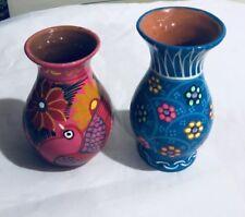 Vibrant Floral Mini Accent Vases Two Ceramic Home Decor Display