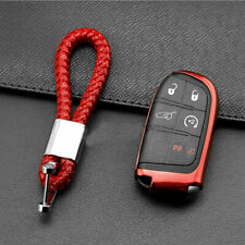 1*Car Scarlet Red TPU Soft Key Chain For Chrysler Jeep Dodge Charger Challenger