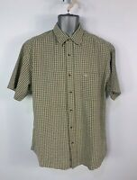 MENS DOCKERS SIZE MEDIUM BROWN MIX CHECK SHORT SLEEVE CREW NECK BUTTON SHIRT TOP