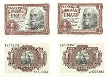 BILLETES DE 1 PESETA DE 1953 (EBC+) M. DE SANTA CRUZ (SERIE A / PAREJA)