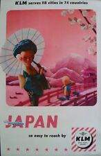 KLM AIRLINES JAPAN Vintage Travel poster 1955 25x40 NEAR MINT
