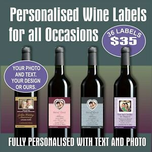 36 PERSONALISED WINE LABELS - FOR ANY OCCASION, YOUR DESIGN OR OURS, FREE POST