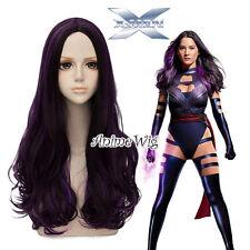 X-MEN Psylocke Mixed Purple Long Curly 60CM Hair Anime Cosplay Wig + Wig Cap
