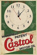 CASTROL OIL WALL CLOCK. GREAT GIFT FOR MECHANIC, MAN-CAVE  WORK-SHOP ETC