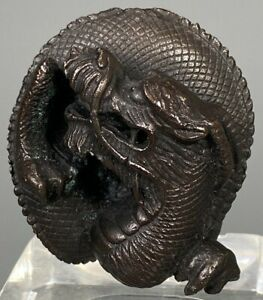 Japan Japanese Bronze Coiled Dragon Shape paper Scroll Weight ca 19-20th century