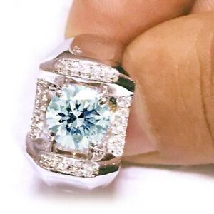 3.30 ct VVS1>NATURAL WHITE ICE BLUE MOISSANITE DIAMOND 925 SILVER MEN'S RING